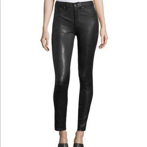 Rag & Bone Lambskin Black Leather Skinny Pants 25